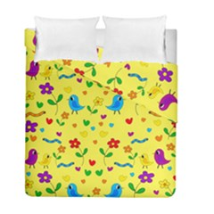 Yellow Cute Birds And Flowers Pattern Duvet Cover Double Side (full/ Double Size) by Valentinaart