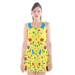 Yellow Cute Birds And Flowers Pattern Scoop Neck Skater Dress