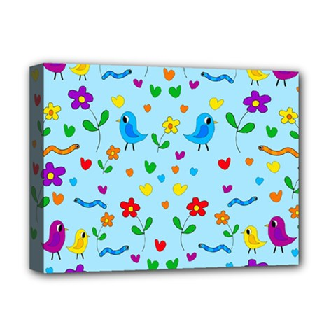 Blue Cute Birds And Flowers  Deluxe Canvas 16  X 12   by Valentinaart