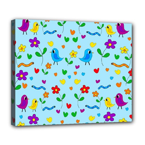 Blue Cute Birds And Flowers  Deluxe Canvas 24  X 20   by Valentinaart
