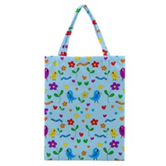 Blue Cute Birds And Flowers  Classic Tote Bag by Valentinaart