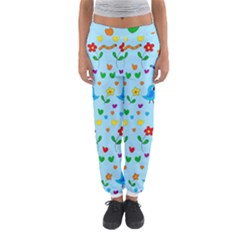 Blue Cute Birds And Flowers  Women s Jogger Sweatpants by Valentinaart