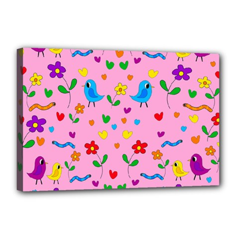 Pink Cute Birds And Flowers Pattern Canvas 18  X 12  by Valentinaart