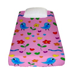Pink Cute Birds And Flowers Pattern Fitted Sheet (single Size) by Valentinaart