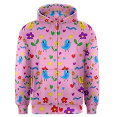 Pink Cute Birds And Flowers Pattern Men s Zipper Hoodie by Valentinaart