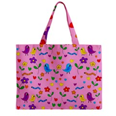 Pink Cute Birds And Flowers Pattern Zipper Mini Tote Bag by Valentinaart