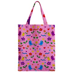 Pink Cute Birds And Flowers Pattern Zipper Classic Tote Bag by Valentinaart