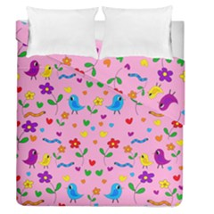 Pink Cute Birds And Flowers Pattern Duvet Cover Double Side (queen Size) by Valentinaart