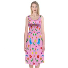 Pink Cute Birds And Flowers Pattern Midi Sleeveless Dress