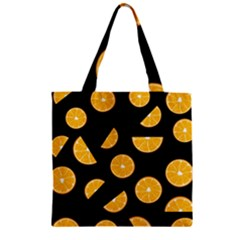 Oranges Pattern   Black Zipper Grocery Tote Bag