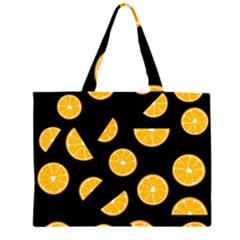 Oranges Pattern   Black Zipper Large Tote Bag by Valentinaart