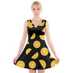 Oranges Pattern   Black V Neck Sleeveless Skater Dress