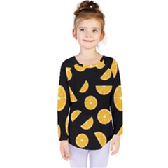 Oranges Pattern   Black Kids  Long Sleeve Tee