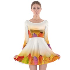 Autumn Leaves Colorful Fall Foliage Long Sleeve Skater Dress by Amaryn4rt