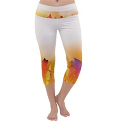 Autumn Leaves Colorful Fall Foliage Capri Yoga Leggings by Amaryn4rt