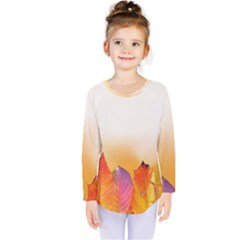 Autumn Leaves Colorful Fall Foliage Kids  Long Sleeve Tee