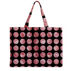 Circles1 Black Marble & Red & White Marble Zipper Mini Tote Bag