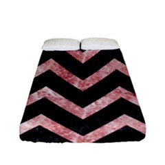 Chevron9 Black Marble & Red & White Marble Fitted Sheet (full/ Double Size)