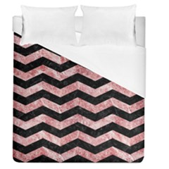 Chevron3 Black Marble & Red & White Marble Duvet Cover (queen Size)