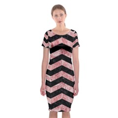 Chevron3 Black Marble & Red & White Marble Classic Short Sleeve Midi Dress