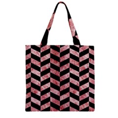 Chevron1 Black Marble & Red & White Marble Zipper Grocery Tote Bag