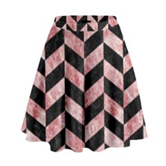Chevron1 Black Marble & Red & White Marble High Waist Skirt by trendistuff