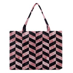 Chevron1 Black Marble & Red & White Marble Medium Tote Bag by trendistuff