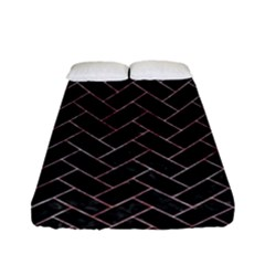 Brick2 Black Marble & Red & White Marble Fitted Sheet (full/ Double Size) by trendistuff