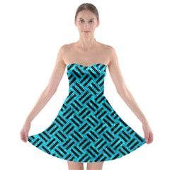 Woven2 Black Marble & Turquoise Marble (r) Strapless Bra Top Dress by trendistuff