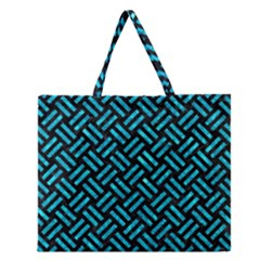 Woven2 Black Marble & Turquoise Marble Zipper Large Tote Bag by trendistuff