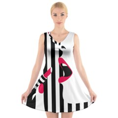 Lipstick Face Girl V Neck Sleeveless Skater Dress by Jojostore