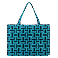 Woven1 Black Marble & Turquoise Marble (r) Medium Zipper Tote Bag by trendistuff