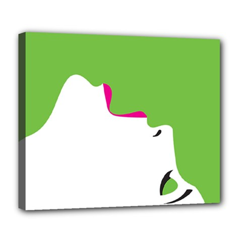 Image Of A Woman s Face Green White Deluxe Canvas 24  X 20