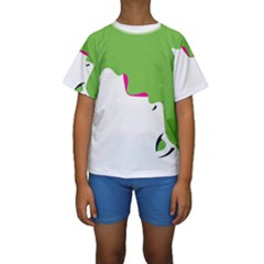 Image Of A Woman s Face Green White Kids  Short Sleeve Swimwear