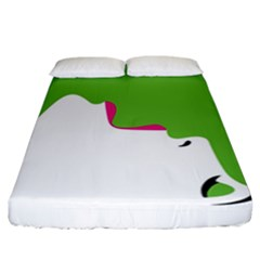 Image Of A Woman s Face Green White Fitted Sheet (california King Size)