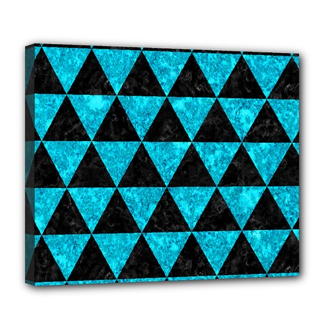 Triangle3 Black Marble & Turquoise Marble Deluxe Canvas 24  X 20  (stretched) by trendistuff