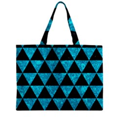 Triangle3 Black Marble & Turquoise Marble Zipper Mini Tote Bag by trendistuff