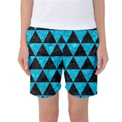 Triangle3 Black Marble & Turquoise Marble Women s Basketball Shorts by trendistuff
