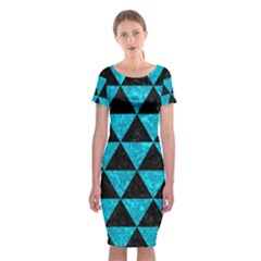 Triangle3 Black Marble & Turquoise Marble Classic Short Sleeve Midi Dress