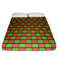 Green Red Box Fitted Sheet (california King Size)