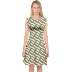 Yellow Washi Tape Tileable Capsleeve Midi Dress