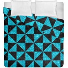 Triangle1 Black Marble & Turquoise Marble Duvet Cover Double Side (king Size)