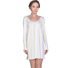 Line Yellow Purple Green Long Sleeve Nightdress