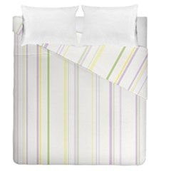 Line Yellow Purple Green Duvet Cover Double Side (queen Size) by Jojostore