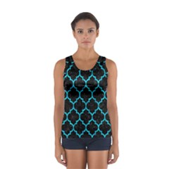 Tile1 Black Marble & Turquoise Marble Sport Tank Top