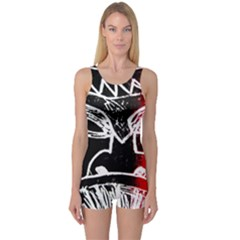 Mask Face Red Black One Piece Boyleg Swimsuit