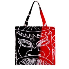 Mask Face Red Black Zipper Grocery Tote Bag by Jojostore