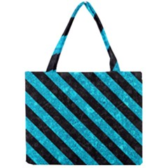 Stripes3 Black Marble & Turquoise Marble (r) Mini Tote Bag by trendistuff