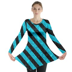 Stripes3 Black Marble & Turquoise Marble (r) Long Sleeve Tunic
