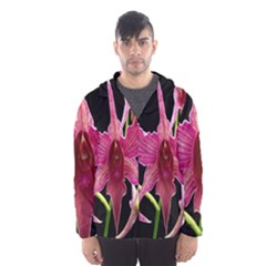 Orchid Flower Branch Pink Exotic Black Hooded Wind Breaker (men)